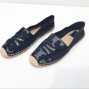 TORY BURCH Espadrille Blue Flat Shoes 10 logo